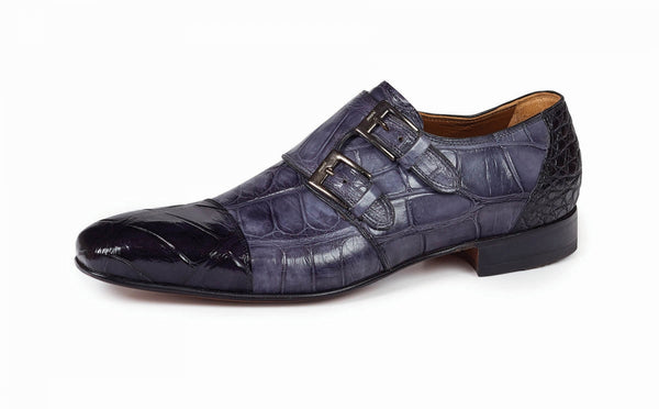 Mauri - 1152 Traiano Black/Grey Alligator Double Monk Strap Dress Shoe