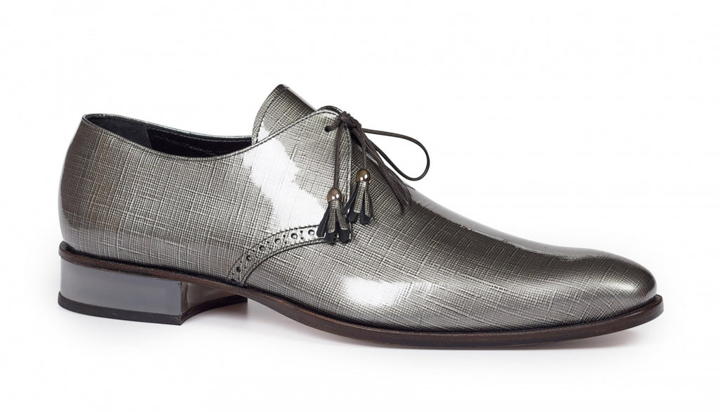 Mauri - 4801 Grey Patent Leather & Plexiglass Heel Dress Shoes