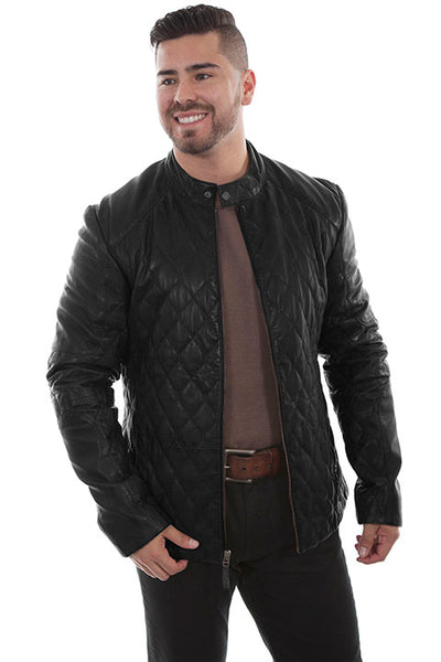Scully Men's Black Quilted Leather Jacket