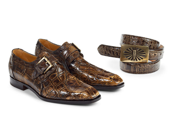 Mauri - 1002 Alligator Burnished Brown Monk Strap Dress Shoes