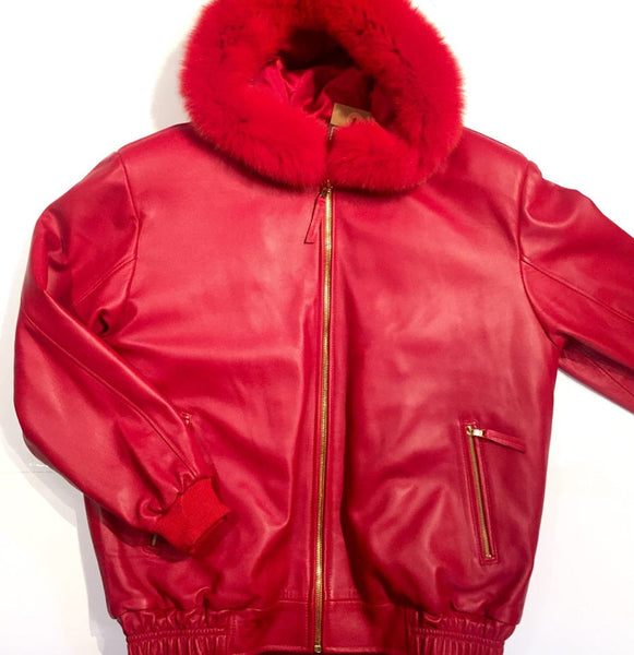 G-Gator Candy Red Mink/Lamb Skin Bomber Jacket - Dudes Boutique