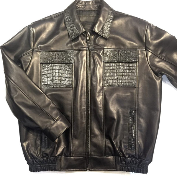 G-Gator Black Alligator Bomber Jacket - Dudes Boutique