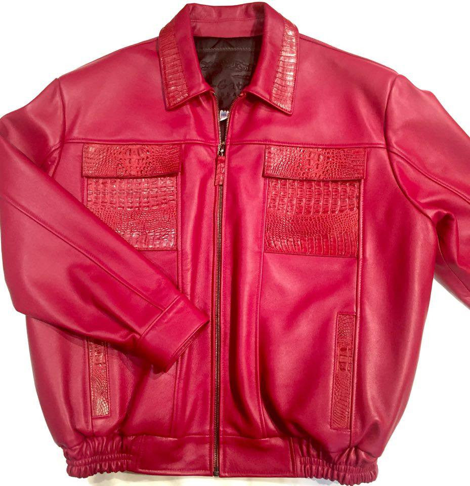 G-Gator Candy Red Alligator/Lamb Skin Bomber Jacket - Dudes Boutique