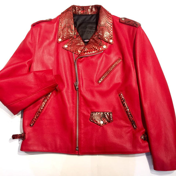 G-Gator Candy Red Diamond Back Python Biker Jacket - Dudes Boutique