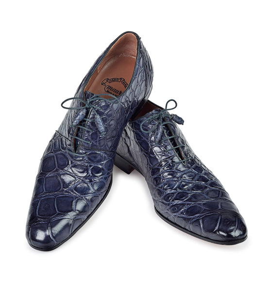 "Mauri - ""1078"" Charcoal Grey Alligator Hand-Painted Dress Shoe - Dudes Boutique"