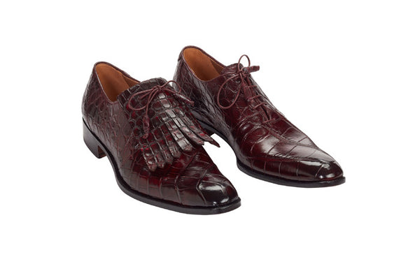 "Mauri - 1078 ""Bligny"" Hand-Painted Burgundy Dress Shoe"
