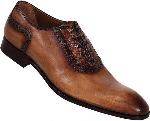 "Mauri - ""1126"" Brown/Beige Hand Painted Crocodile Flanks/Calf Crust Shoe - Dudes Boutique"