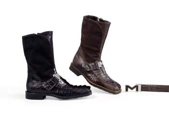Mauri - 1113 Suede/Hornback Crocodile Boot - Dudes Boutique
