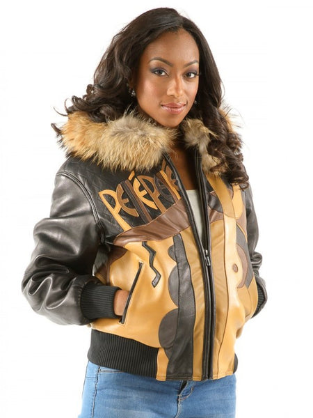 Pelle Pelle Women's PICASSO Fox Hooded Leather Jacket - Dudes Boutique