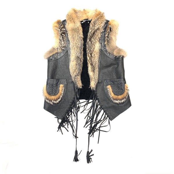 Kashani Ladies Black Suede Natural Fox Western Shearling Vest - Dudes Boutique