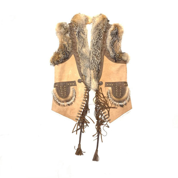 Kashani Ladies Brown Suede Natural Fox Western Shearling Vest