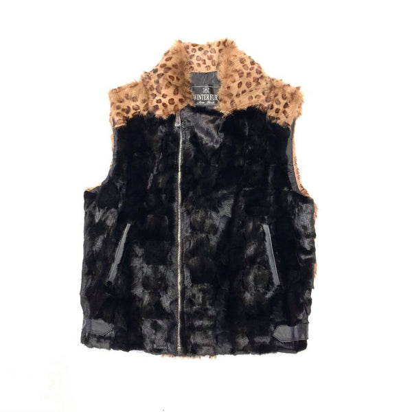 Kashani Ladies Black Mink Leopard Print Fur Vest - Dudes Boutique