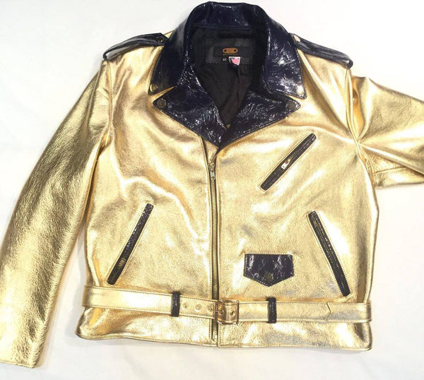 G-Gator Gold/Navy Cowhide/Patent Leather Biker Jacket - Dudes Boutique - 1