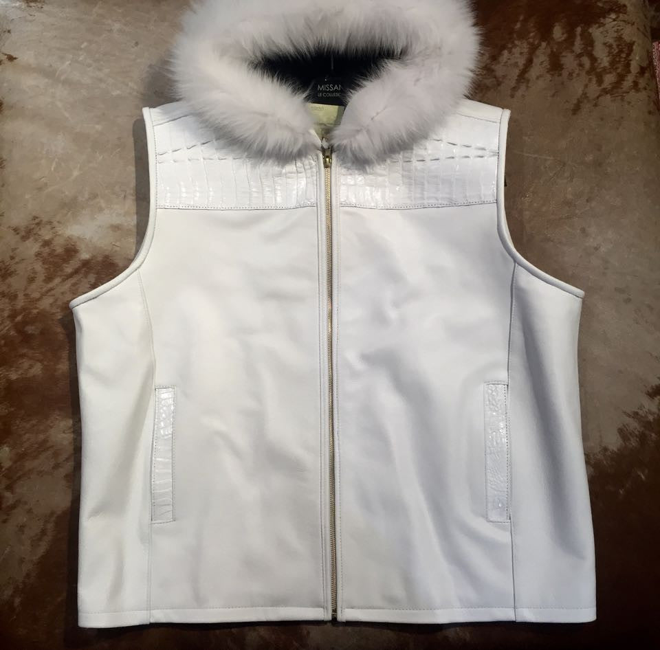 G-Gator - Hooded Crocodile/Lambskin Vest w/ Mink Trim - Dudes Boutique
