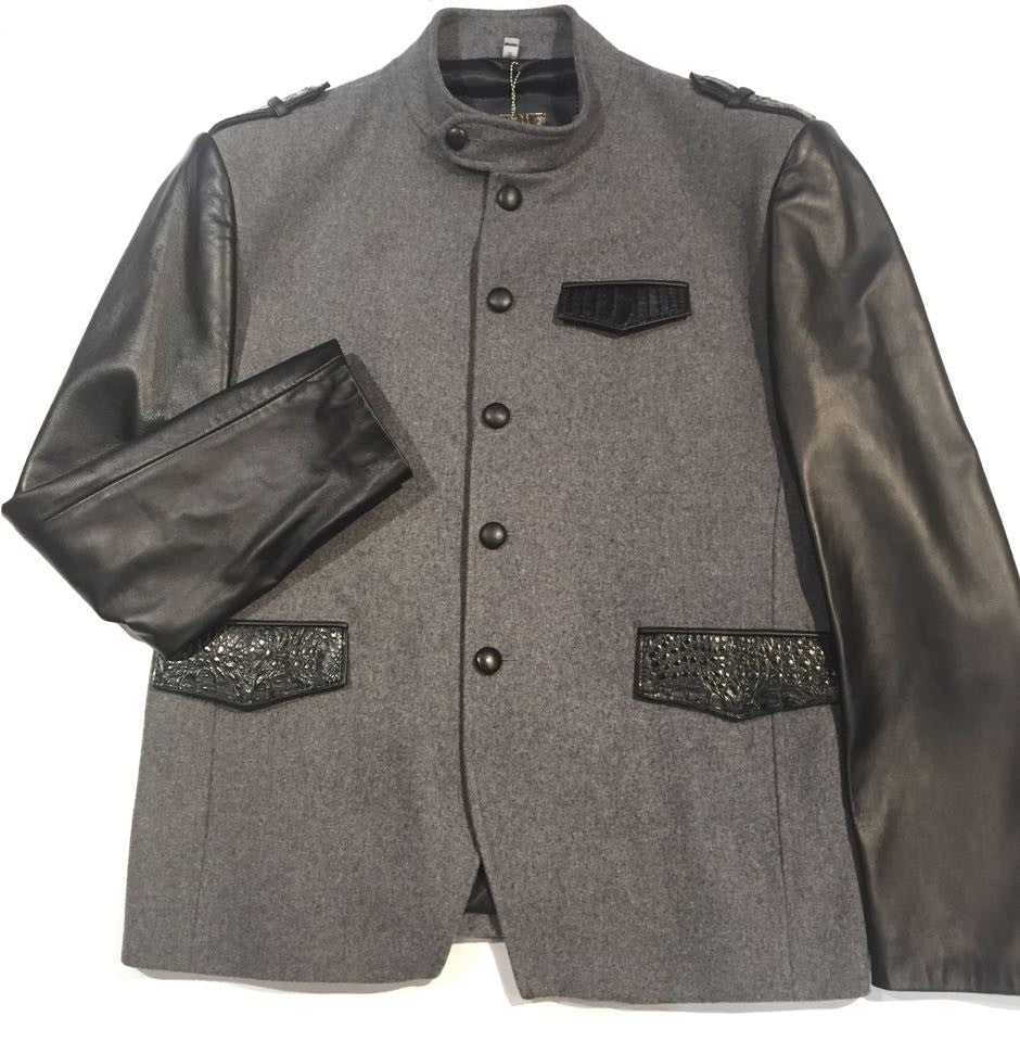 G-Gator Leather Sleeved Wool/Alligator Jacket - Dudes Boutique