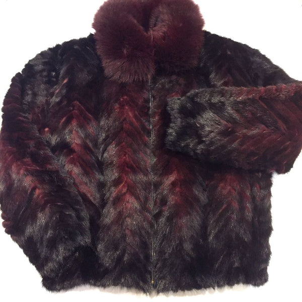 Winter Fur Chevron Mink Tails Fur Coat - Dudes Boutique - 1
