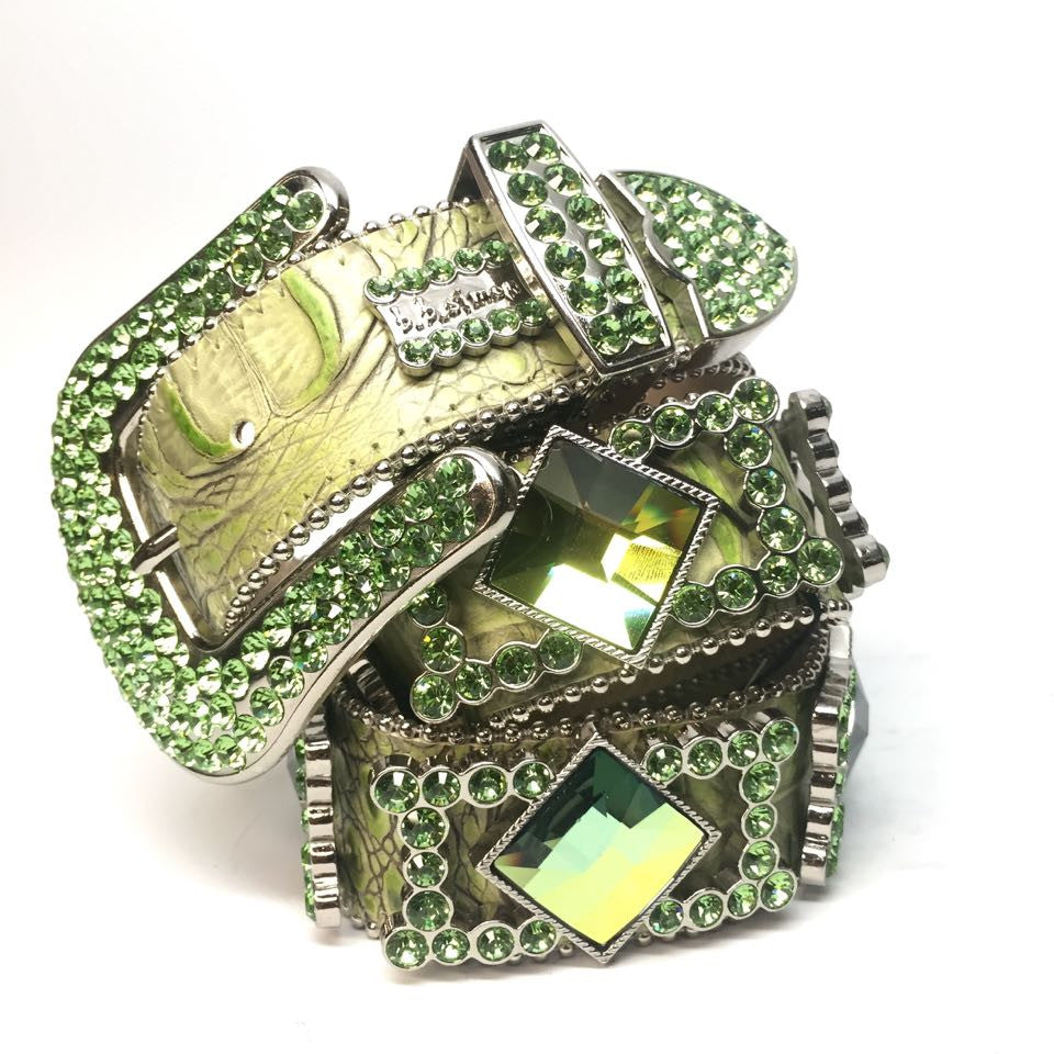 B.B. Simon 9003 Green Monster Swarovski Crystal Belt - Dudes Boutique