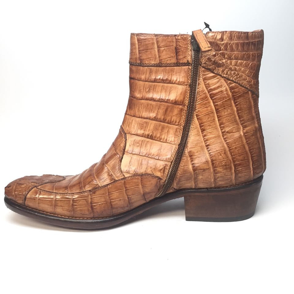 Calzoleria Toscana All-Over Horn-back Crocodile Ankle Boots - Dudes Boutique