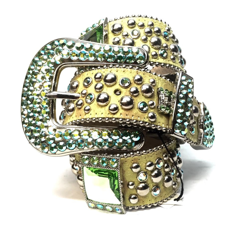 B.B. Simon 767 Lime Green Swarovski Crystal Belt - Dudes Boutique