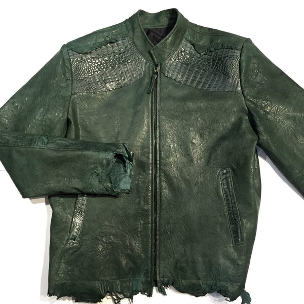 G-Gator Alligator/Lambskin Rough Cut Leather Jacket - Dudes Boutique
