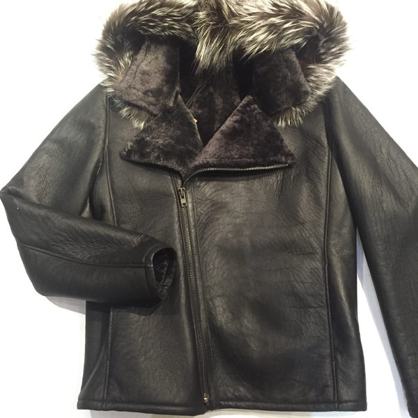 Jakewood Biker Shearling Jacket w/ Silver Fox Trim - Dudes Boutique - 1