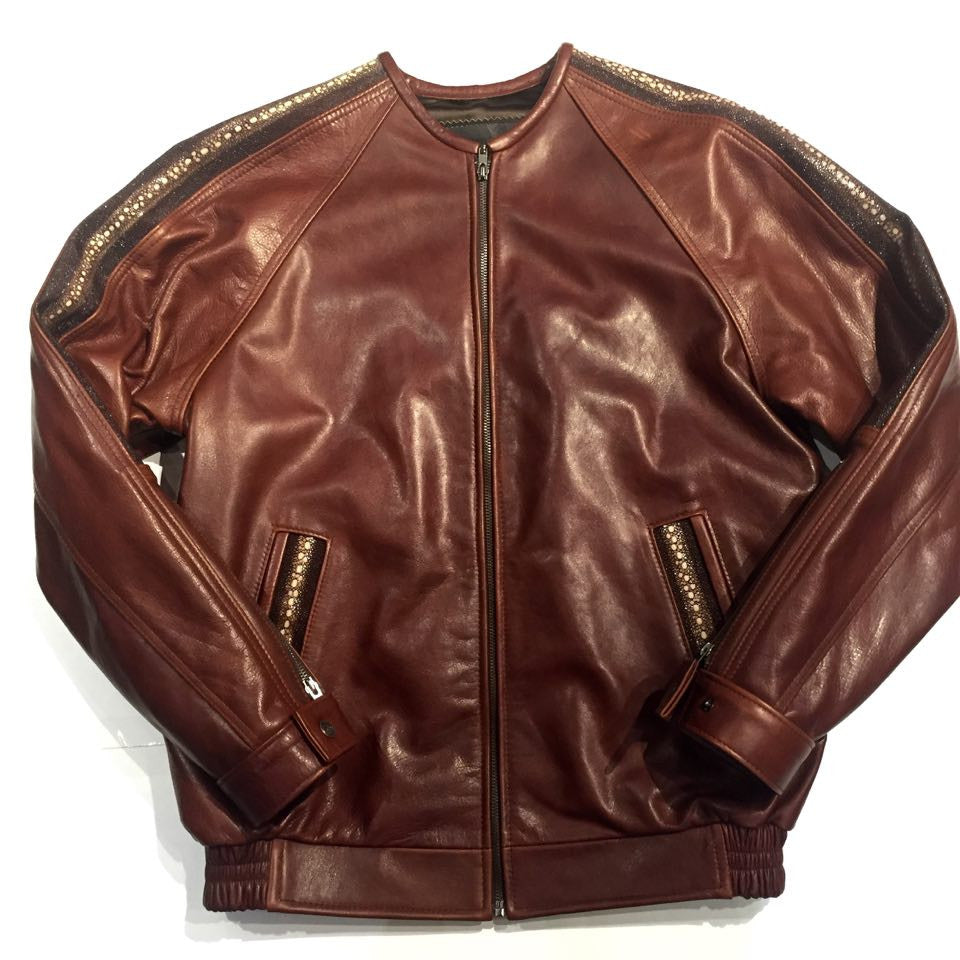 G-Gator Cowhide/Stingray Chinese Collar Bomber Jacket - Dudes Boutique