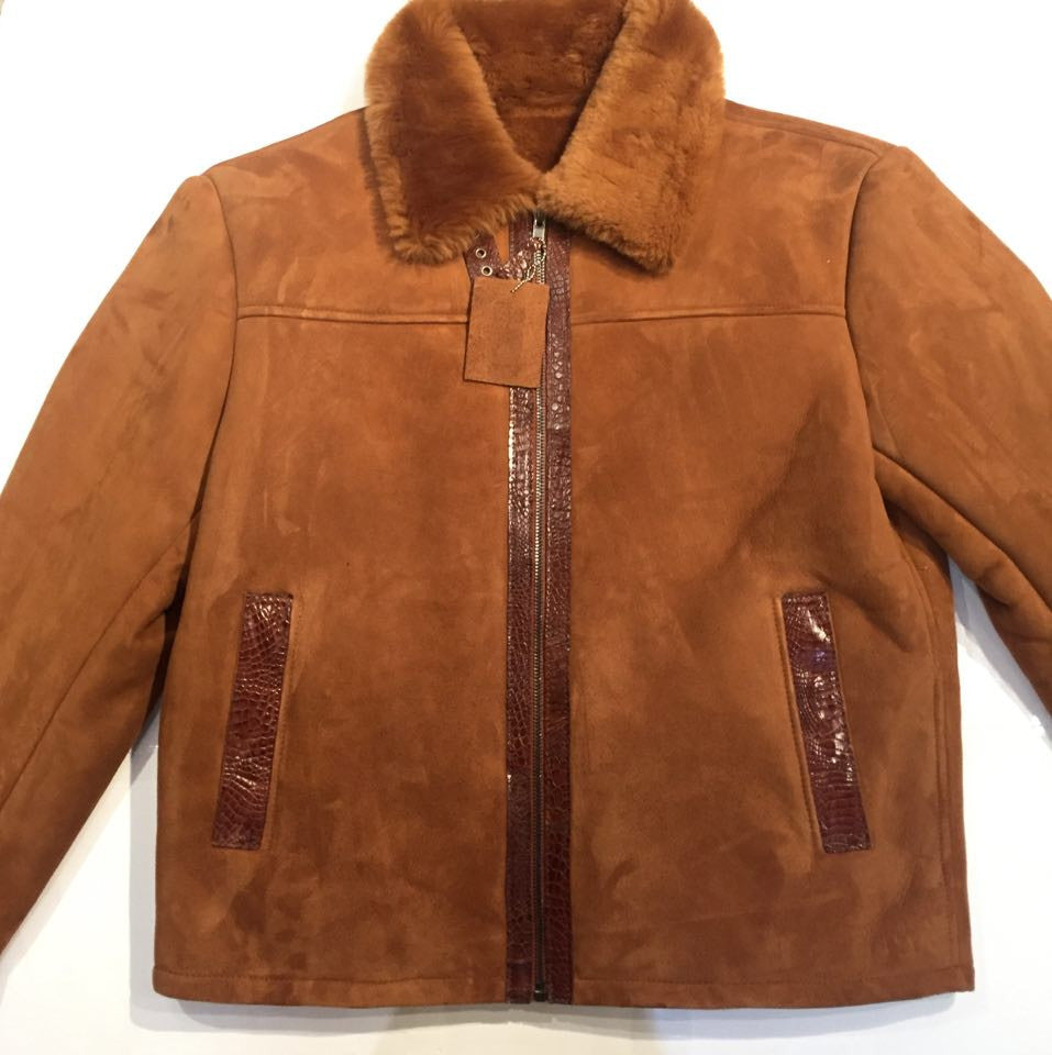 Jakewood Alligator Belly/Shearling Bomber Jacket - Dudes Boutique - 1
