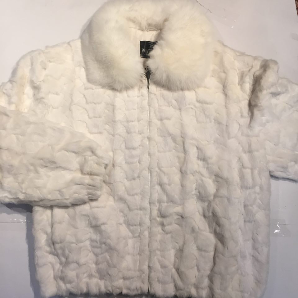 Winter Fur Diamond Mink Jacket w/ Fox Collar - Dudes Boutique - 3