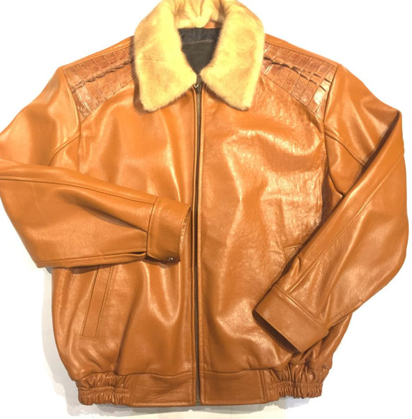 G-Gator 2057 Cognac Alligator/Mink Bomber Jacket - Dudes Boutique