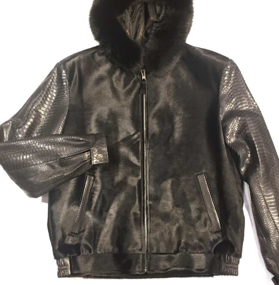 G-Gator Pony Hair/Python Bomber w/ Fox Trimmed Hood - Dudes Boutique - 1