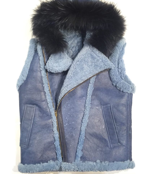 Jakewood Shearling Vest w/ Fox Collar - Dudes Boutique - 1