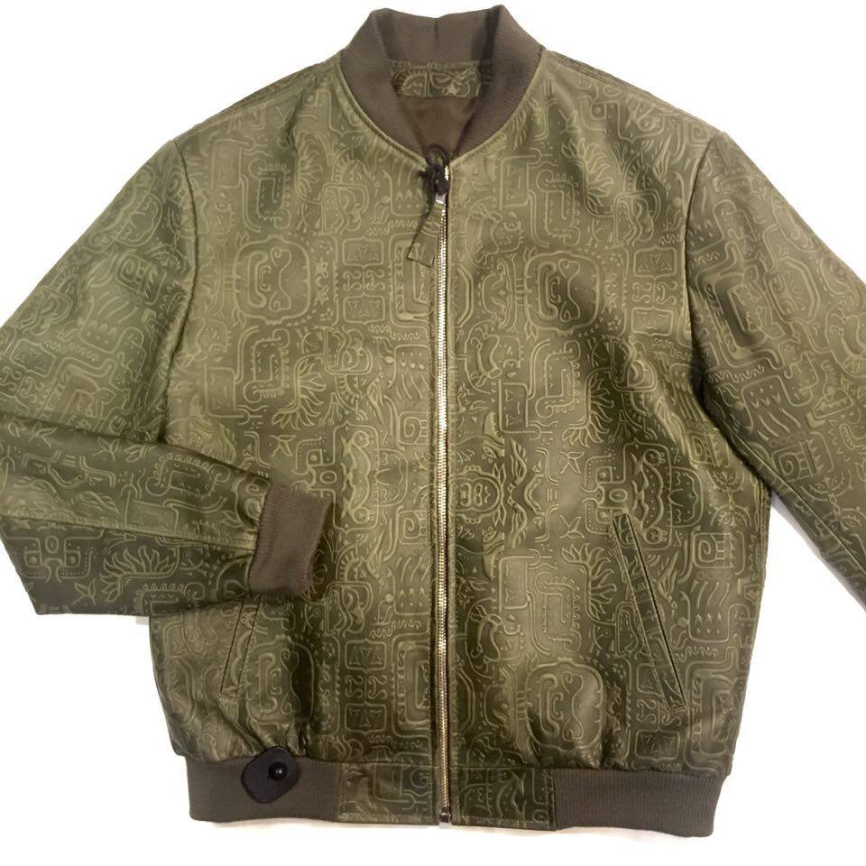 Jakewood Money Green Embossed Leather Bomber Jacket - Dudes Boutique - 1