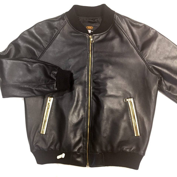 G-Gator Black/Gold Lamb Skin Bomber Jacket - Dudes Boutique