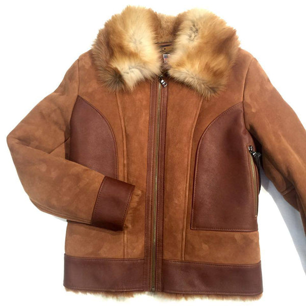Jakewood Tobacco Red Fox Collar Shearling - Dudes Boutique - 1