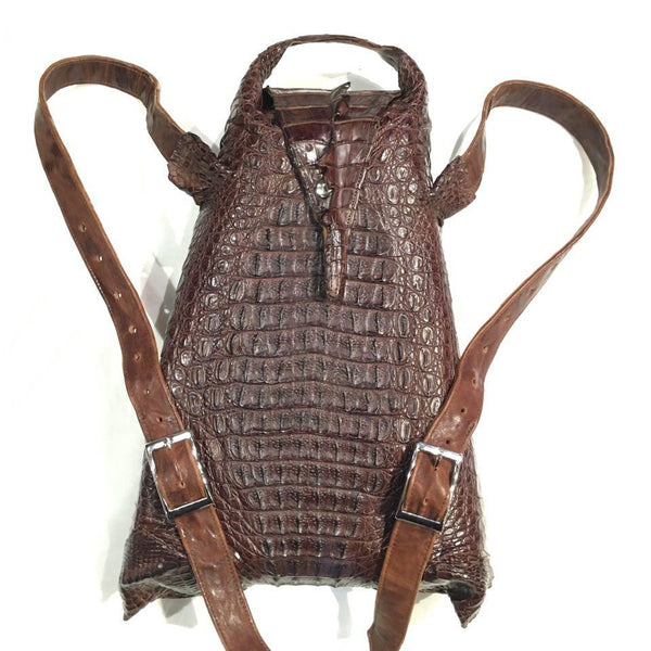 Kashani Chocolate Brown All-Over Alligator Backpack - Dudes Boutique