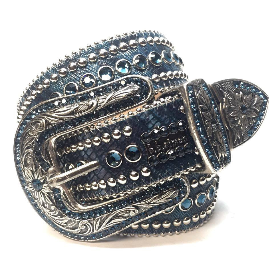 B.B. Simon Blue Lizard Swarovski Crystal Belt - Dudes Boutique