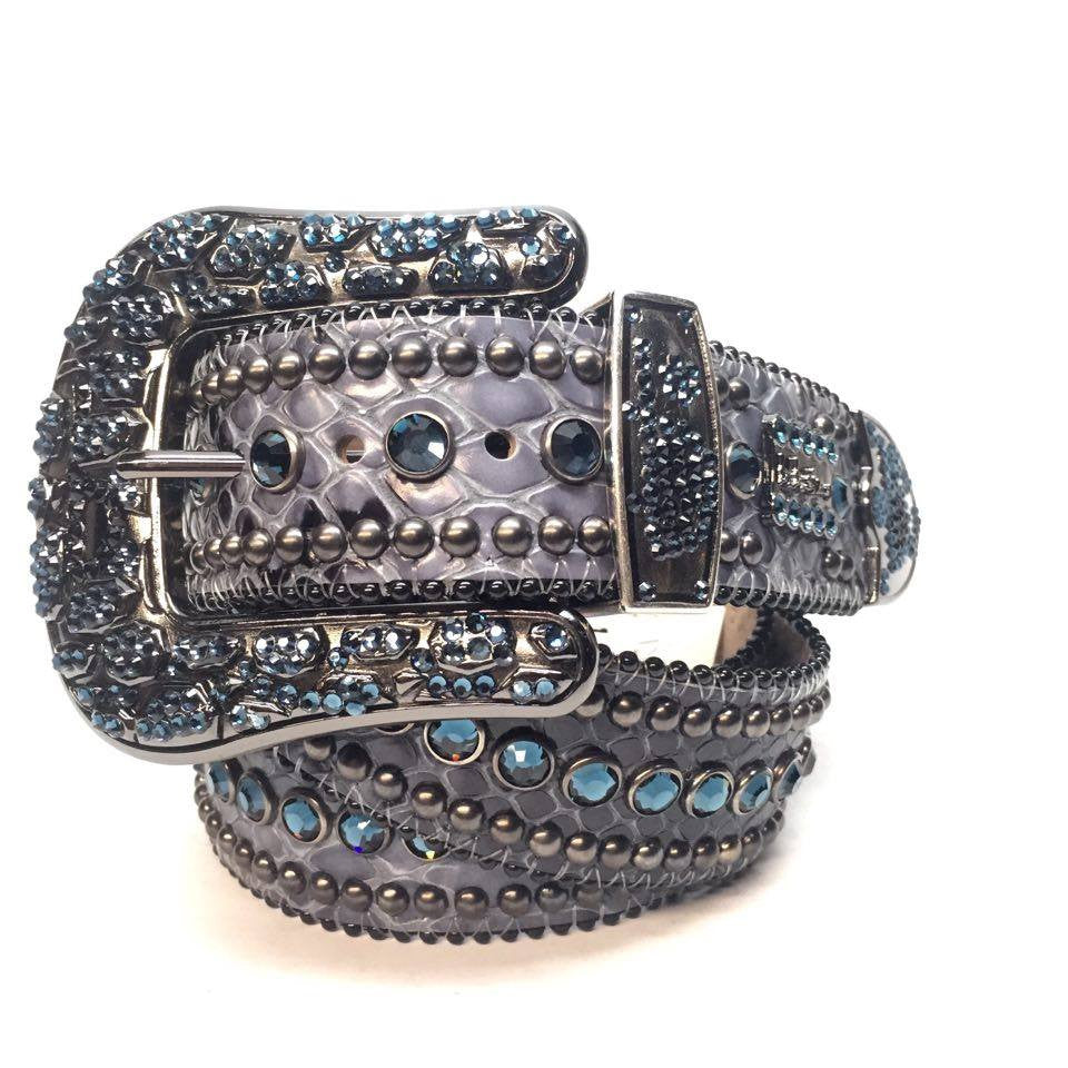 B.B. Simon Ostrich Scale Swarovski Crystal Belt - Dudes Boutique