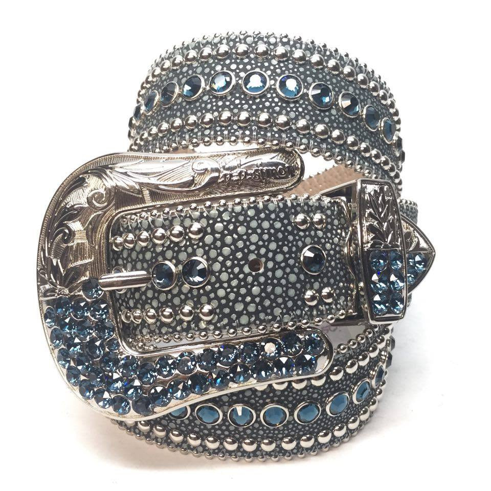 B.B. Simon Ocean Stingray Swarovski Crystal Belt - Dudes Boutique
