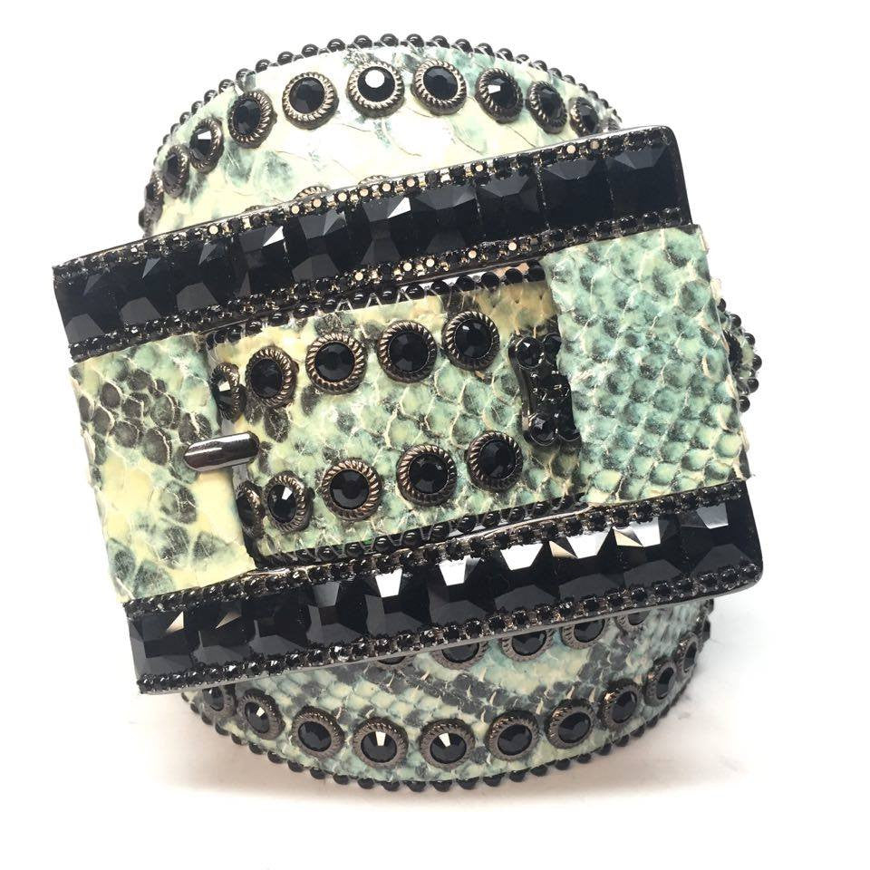 B.B. Simon Natural Lime Python Swarovski Crystal Belt - Dudes Boutique