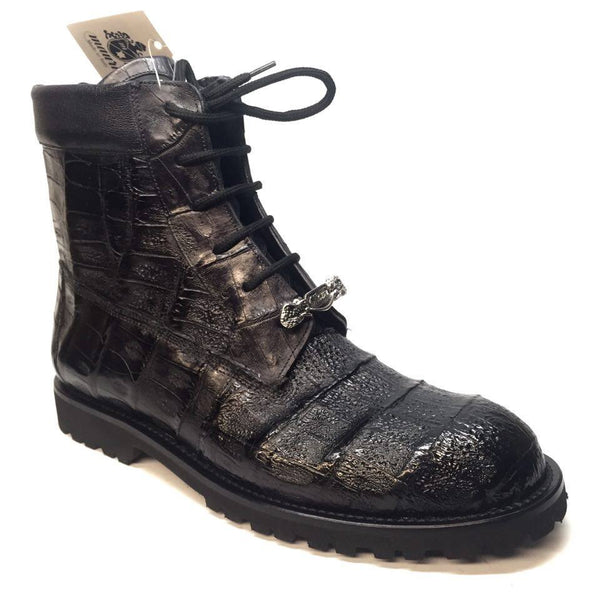 Mauri All-Over Baby Crocodile 'King' Lace Up Combat Boots - Dudes Boutique - 1
