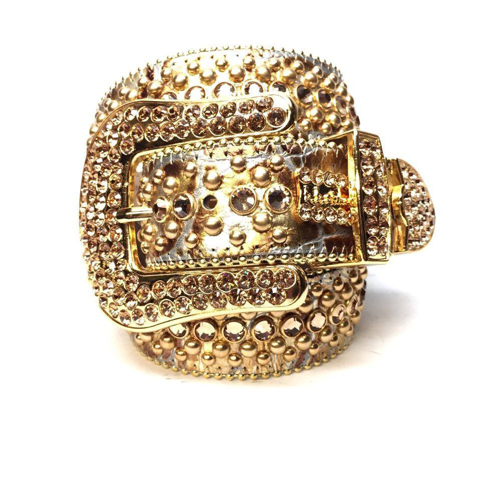 B.B. Simon Metallic Gold Swarovski Crystal Belt - Dudes Boutique