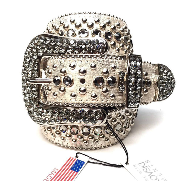 B.B. Simon Silver Lizard Swarovski Crystal Belt - Dudes Boutique