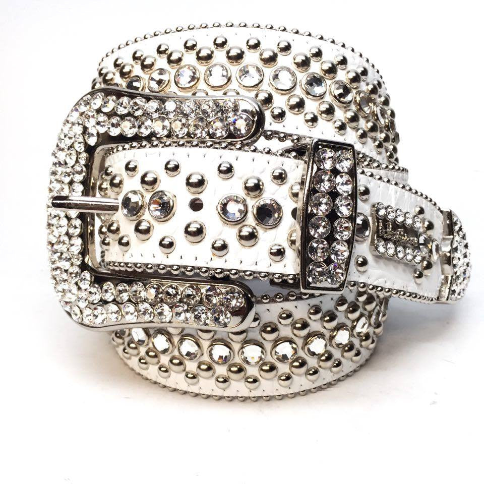 B.B. Simon White Magic Crystal Belt - Dudes Boutique