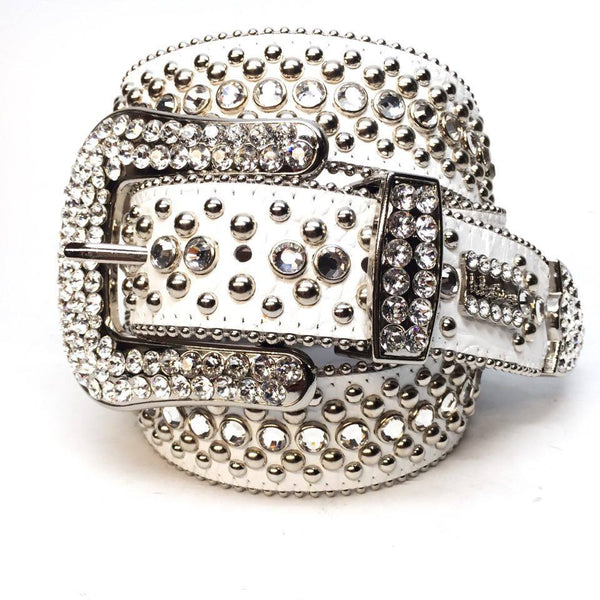 B.B. Simon White Magic Swarovski Crystal Belt - Dudes Boutique