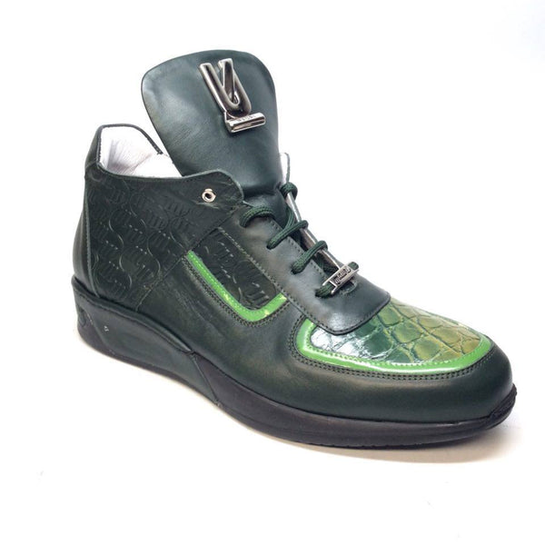 Mauri 711/2 Forest Green Alligator/Nappa/Patent Sneakers - Dudes Boutique - 1