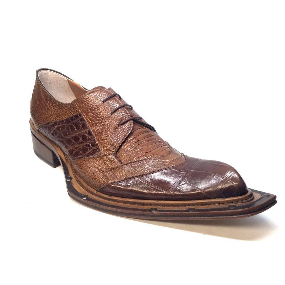 "Mauri 44255 ""Garda"" All Over Ostrich Leg/Alligator Dress Shoe - Dudes Boutique - 1"