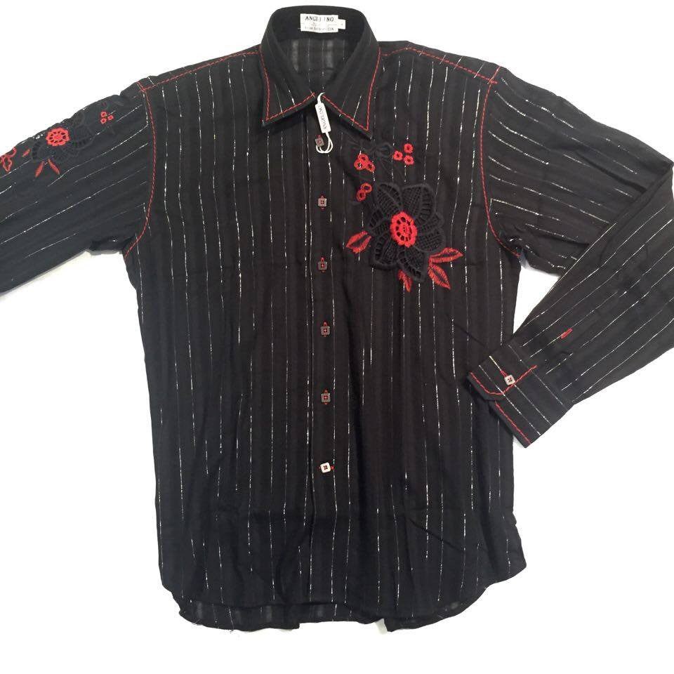 Angelino Floral Silver Striped Button Down Shirt - Dudes Boutique