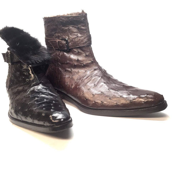 Mauri 4390 Nicotine Ostrich Quill & Mink Fur 3/4 Ankle Boots - Dudes Boutique - 1