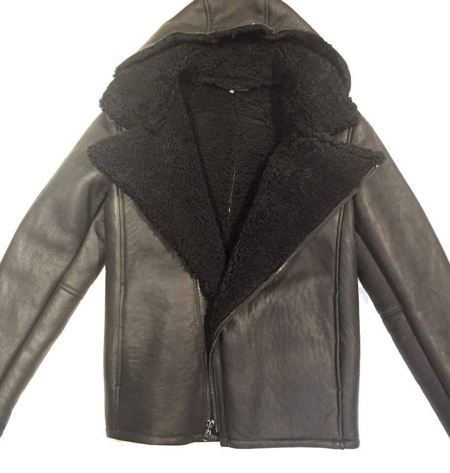 Jakewood Black Shearling Biker Style Jacket - Dudes Boutique