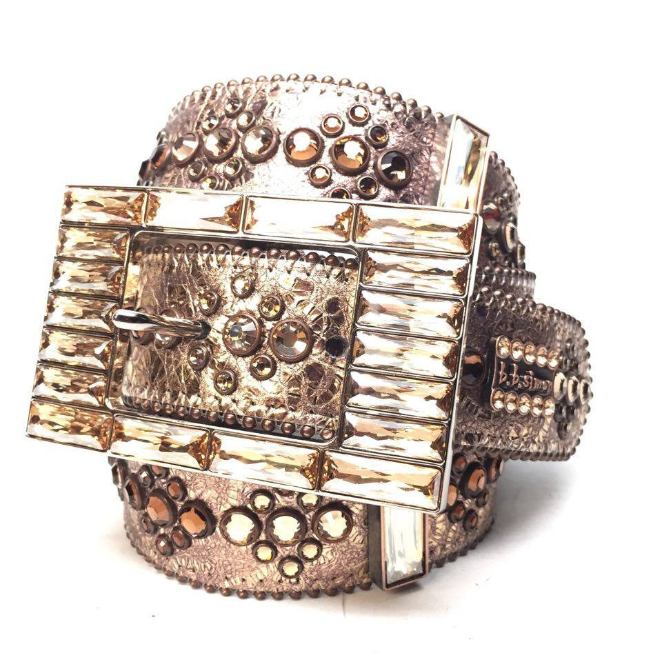 B.B. Simon Bronze Block Swarovski Crystal Belt - Dudes Boutique